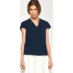 Granatowa Bluzka z Dekoltem V z Mini Rękawkiem. Niebieskie bluzki nietoperze Molly.pl, l, z jeansu, klasyczne, dekolt w kształcie v, z krótkim rękawem. Za 108,90 zł.