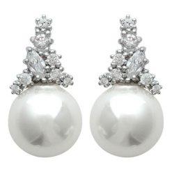Kolczyki damskie: Srebrne kolczyki-wkrętki z perłami i cyrkoniami