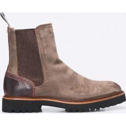 Marc O'Polo - Botki. Szare buty zimowe damskie Marc O'Polo, z materiału, z okrągłym noskiem, na obcasie. W wyprzedaży za 359,90 zł.