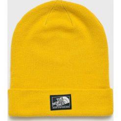 The North Face - Czapka. Żółte czapki zimowe damskie marki The North Face, na zimę, z dzianiny. W wyprzedaży za 79,90 zł.