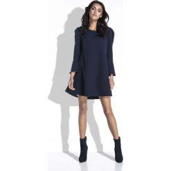 Granatowa Sukienka Mini o Linii A z Dekoltem na Plecach. Czerwone sukienki balowe marki Molly.pl, l, z jeansu, z dekoltem na plecach, z długim rękawem. Za 164,90 zł.