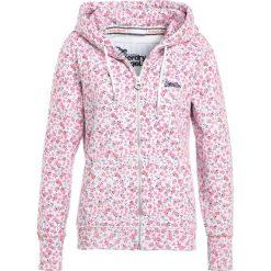 Superdry LABEL ZIPHOOD Bluza rozpinana ice marl/pink bloom. Czerwone bluzy rozpinane damskie marki Superdry, l, z bawełny. Za 389,00 zł.