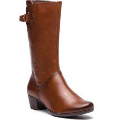 Kozaki MARCO TOZZI - 2-25519-21 Cognac Antic 310. Brązowe buty zimowe damskie Marco Tozzi, z materiału, przed kolano, na wysokim obcasie, na obcasie. Za 399,90 zł.
