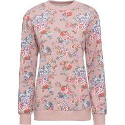 Bluza bonprix matowy jasnoróżowy w kwiaty. Fioletowe bluzy z nadrukiem damskie marki DOMYOS, l, z bawełny. Za 69,99 zł.