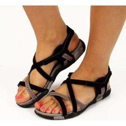 Rzymianki damskie: Czarne sandały damskie sportowe Hasby