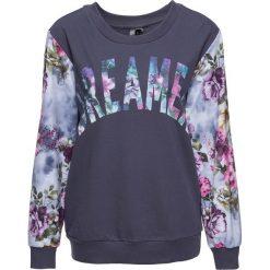 Bluzy damskie: Bluza z kwiatowym nadrukiem bonprix jagodowy z pastelowym nadrukiem