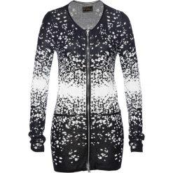Długi sweter rozpinany z dzianiny żakardowej bonprix czarno-kremowy. Szare kardigany damskie marki Reserved, l. Za 59,99 zł.