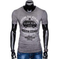 T-shirty męskie: T-SHIRT MĘSKI Z NADRUKIEM S890 - GRAFITOWY