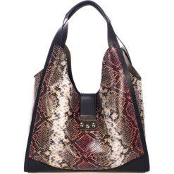 Torebki klasyczne damskie: Skórzana torebka w kolorze czarno-czerwonym – (S)38 x (W)50 x (G)15 cm
