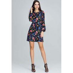 Casualowa Sukienka z Bufiastym Rękawem z Barwnym Wzorem  - Wzór 77. Szare sukienki na komunię marki Molly.pl, na randkę, l, z tkaniny, z długim rękawem. Za 149,90 zł.