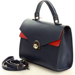 Kuferki damskie: Elegancka torebka kuferek skóra MAZZINI - Amarena granatowy