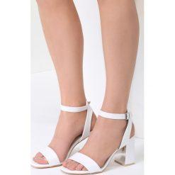 Białe Sandały Starts Here. Białe sandały damskie na słupku vices, z materiału, na wysokim obcasie. Za 44,99 zł.