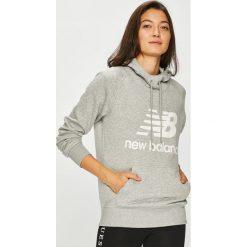 New Balance - Bluza. Szare bluzy rozpinane damskie New Balance, l, z nadrukiem, z bawełny, z kapturem. Za 249,90 zł.