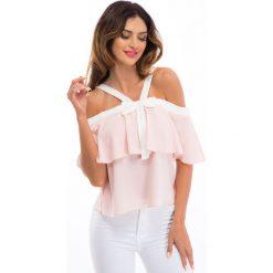 Bluzki damskie: Pudrowo różowa bluzka z kokardą 8504