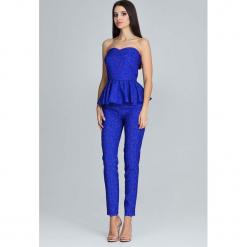 Niebieski Elegancki Komplet Gorsetowa Bluzka + Długie Spodnie. Niebieskie bluzki wizytowe marki Molly.pl, l, eleganckie, z gorsetem. Za 172,90 zł.