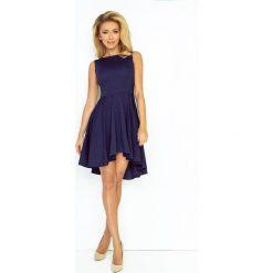 Elvira Ekskluzywna sukienka z dłuższym tyłem - GRANATOWA. Niebieskie sukienki hiszpanki numoco. Za 149,99 zł.