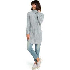 Szary Wygodny Długi Sweter z Golfem. Szare golfy damskie Molly.pl, uniwersalny, z jeansu, z długim rękawem. Za 118,90 zł.