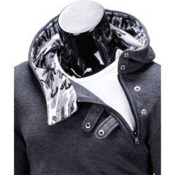BLUZA MĘSKA Z KAPTUREM PACO - GRAFITOWA/MORO. Szare bluzy męskie rozpinane marki Ombre Clothing, m, moro, z bawełny, z kapturem. Za 69,00 zł.