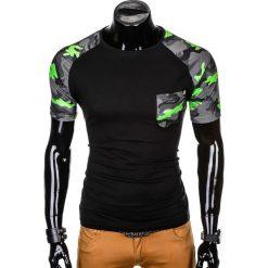 T-SHIRT MĘSKI Z NADRUKIEM MORO S1013 - CZARNY/SZARY. Czarne t-shirty męskie z nadrukiem marki Ombre Clothing, m, z bawełny, z kapturem. Za 35,00 zł.