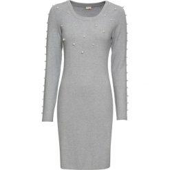 Sukienki: Sukienka dzianinowa z perełkami bonprix jasnoszary melanż