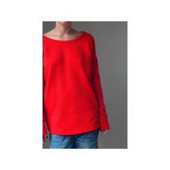 Wąski gruby rękaw czerwony bluza oversize. Czerwone długie bluzy damskie One mug a day, z bawełny. Za 189,00 zł.