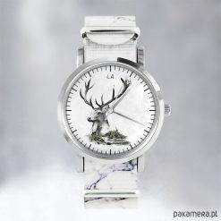 Zegarek - Jeleń - marmurkowy, nato. Szare zegarki męskie Pakamera. Za 139,00 zł.