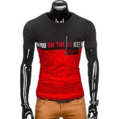 T-shirty męskie: T-SHIRT MĘSKI Z NADRUKIEM S867 – CZERWONY