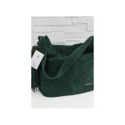 Zamszowa Shopper boho butelkowa zieleń. Zielone shopper bag damskie marki Fabiola, z materiału, duże, zamszowe. Za 281,00 zł.
