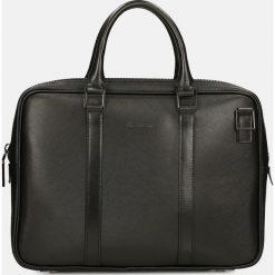 Czarna torba na laptopa. Czarne torby na laptopa Kazar, w paski, ze skóry, z tłoczeniem. Za 599,00 zł.