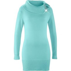 Długi sweter bonprix morski pastelowy. Zielone golfy damskie bonprix, z długim rękawem. Za 109,99 zł.