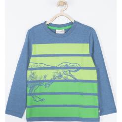 Koszulka. Niebieskie t-shirty chłopięce z długim rękawem DINOSAUR, z aplikacjami, z bawełny. Za 49,90 zł.