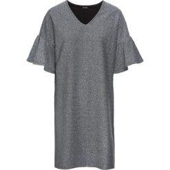 Sukienka z dżerseju z połyskiem bonprix czarno-srebrny. Czarne sukienki z falbanami marki bonprix, z dżerseju. Za 99,99 zł.
