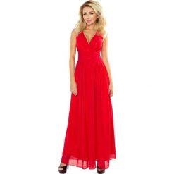 Czerwona Sukienka Wieczorowa Maxi z Dekoltem V. Czerwone długie sukienki marki Molly.pl, na studniówkę, l, wizytowe, z długim rękawem, dopasowane. Za 319,90 zł.