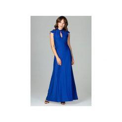 Sukienka K486zafir. Niebieskie długie sukienki marki Lenitif, l, eleganckie, z falbankami, dopasowane. Za 179,00 zł.