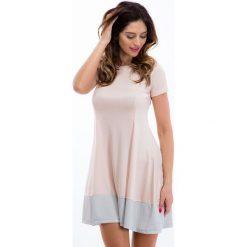 Sukienki: Sukienka pudrowy róż / szary 3396