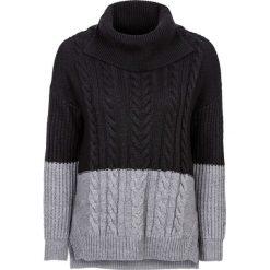 Sweter dzianinowy w warkocze bonprix czarno-szary. Czarne golfy damskie marki bonprix, z dzianiny. Za 79,99 zł.