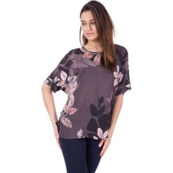 Bluzki asymetryczne: Luźna bluzka w kwiatki z krótkim rękawem BIALCON
