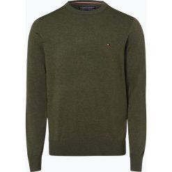 Swetry klasyczne męskie: Tommy Hilfiger – Sweter męski z dodatkiem jedwabiu, zielony