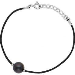 Bransoletki damskie: Bransoletka w kolorze czarnym z perłą słodkowodną