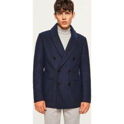 Płaszcz z wełną - Granatowy. Niebieskie płaszcze na zamek męskie marki Reserved, l, z wełny. Za 299,99 zł.