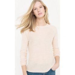 Swetry damskie: Sweter z okrągłym dekoltem, z bawełny i lnu