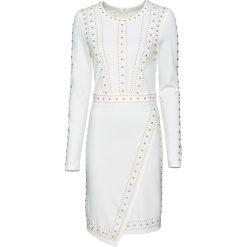 Sukienka z aplikacją z ćwieków bonprix biały. Białe sukienki balowe marki bonprix, z aplikacjami. Za 129,99 zł.