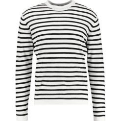 Swetry klasyczne męskie: J.LINDEBERG JACK STRIPE BRETON Sweter whisper white / black
