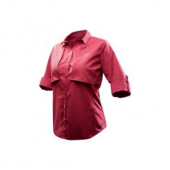 Koszula turystyczna długi rękaw TRAVEL 500 MODUL damska. Czerwone koszule damskie FORCLAZ, s, z bawełny, z długim rękawem. Za 99,99 zł.