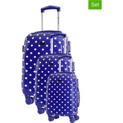 Walizki: Zestaw walizek w kolorze niebieskim ze wzorem – 3 szt.