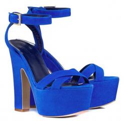 Sandały w kolorze niebieskim. Niebieskie sandały damskie BOHOBOCO, na obcasie. W wyprzedaży za 1069,95 zł.