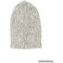 Szara długa czapka robiona na drutach. Szare czapki zimowe damskie Pakamera, z poliamidu. Za 86,00 zł.