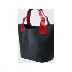 Skórzana torebka do ręki , na ramię. Niebieskie torebki klasyczne damskie Pracownia6-9, z materiału. Za 155,00 zł.