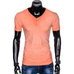 T-SHIRT MĘSKI BEZ NADRUKU S894 - POMARAŃCZOWY. Brązowe t-shirty męskie z nadrukiem Ombre Clothing, m. Za 39,00 zł.