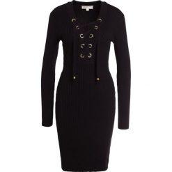 MICHAEL Michael Kors LACE UP RIB DRESS Sukienka etui black. Czarne sukienki dzianinowe marki MICHAEL Michael Kors, s. W wyprzedaży za 569,40 zł.